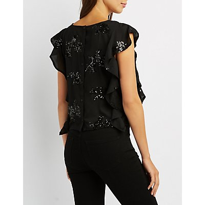 Sequin-Detail Ruffle-Trim Crop Top
