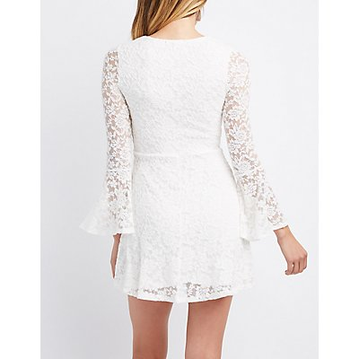 Lace-Up Bell Sleeve Lace Skater Dress