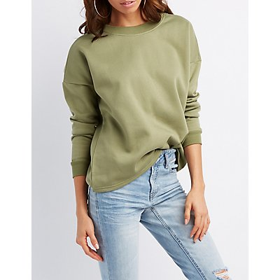 Lace-Up Pullover Sweatshirt