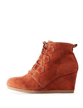 Qupid Faux Suede Lace-Up Wedge Booties