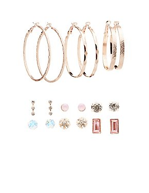 Embellished Stud & Hoop Earrings - 9 Pack