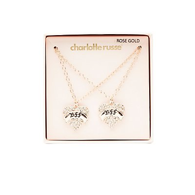 Embellished BFF Pendant Necklace - 2 Packs