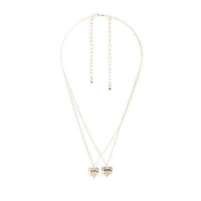 Embellished BFF Pendant Necklace - 2 Packs
