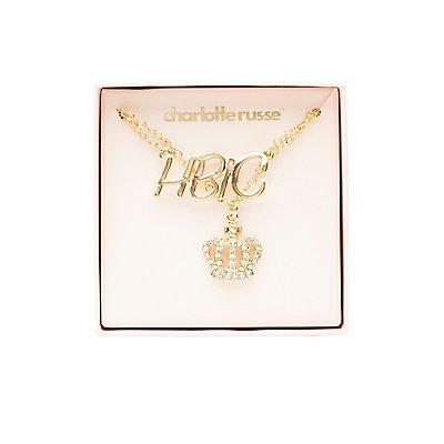 HBIC & Crown Pendant Necklaces - 2 Pack