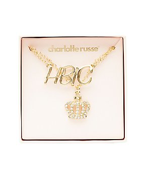 HBIC & Crown Pendant Necklaces - 2 Pack