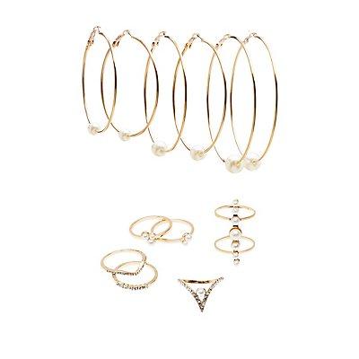 Embellished Caged Rings & Hoop Earrings Set