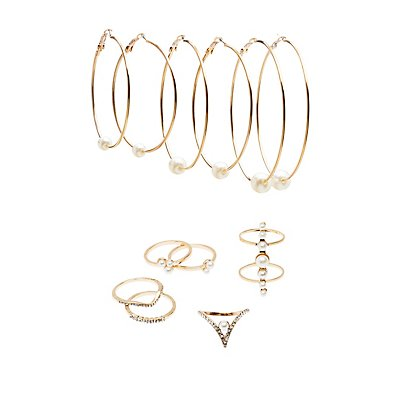 Embellished Caged Rings & Hoop Earrings Set