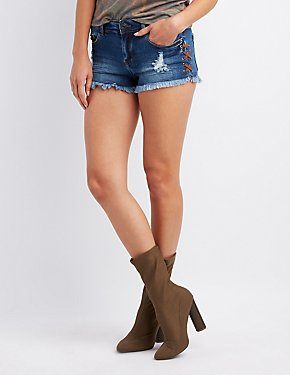 Refuge Destroyed Lace-Up Mid-Rise Shorts