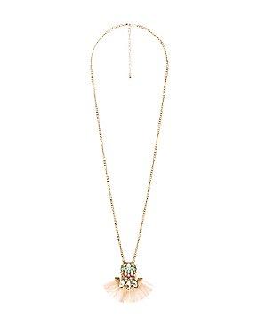 Embellished Tassel Pendant Necklace