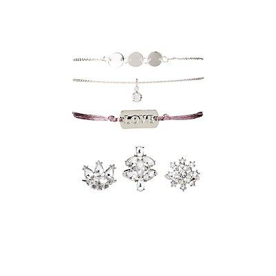 Love Embellished Bracelets & Rings - 6 Pack