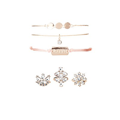 Love Embellished Bracelets & Rings - 6 Pack