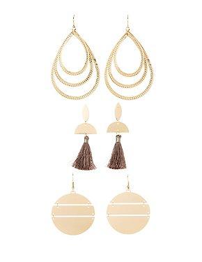 Triangle Drop & Fringe Earrings