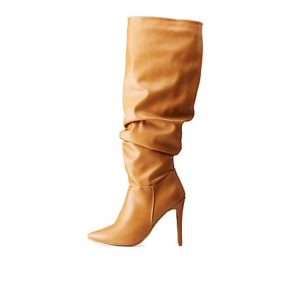 Faux Leather Ruched Pointed Toe Boots