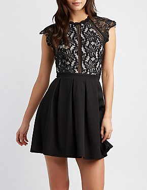 Crochet Lace Combo Skater Dress