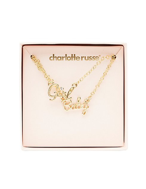 Baby girl pendant necklaces 2 pack charlotte russe baby girl pendant necklaces 2 pack aloadofball Image collections