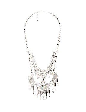 Crystal Embellished Bib Necklace