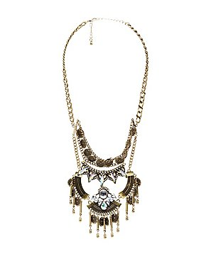 Crystal Embellished Bib Necklace