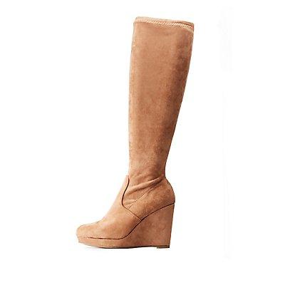 Bamboo Knee High Wedge Boots