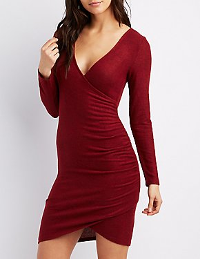 Ruched Surplice Hacci Bodycon Dress