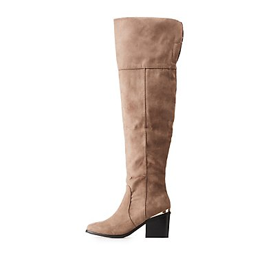 Bamboo Metal-Trim Faux Suede Over-The-Knee Boots