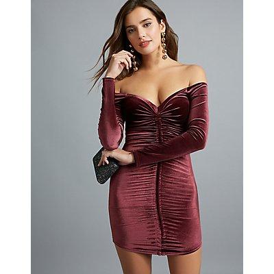 Velvet Off-The-Shoulder Ruched Dress
