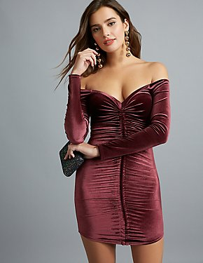 Velvet Off-The-Shoulder Ruched Dress