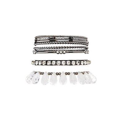 Embellished Bangle Bracelets - 9 Pack