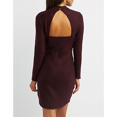 Open-Back Bodycon Sweater Dress