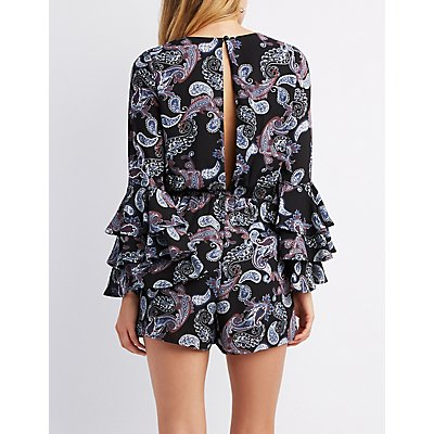 Paisley Tiered Bell Sleeve Romper