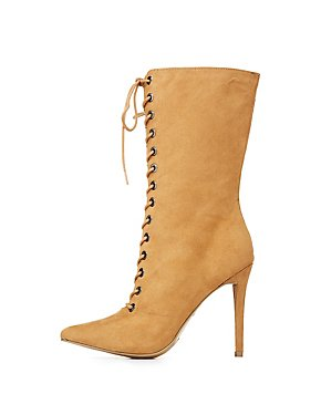 Suede Lace-Up Pointed Toe Booties