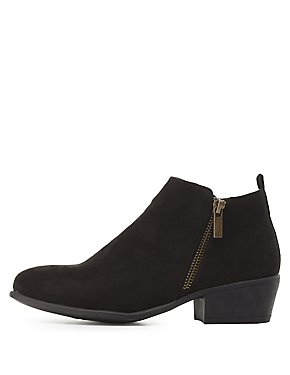 Bamboo Faux Suede Chelsea Booties
