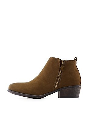 Bamboo Zipper-Trim Ankle Booties