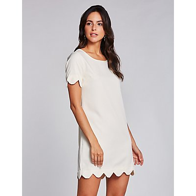 Scalloped-Trim Shift Dress