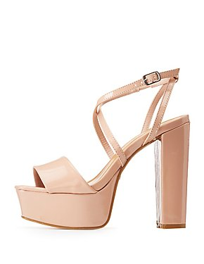 Bamboo Patent X Two-Piece Wedge Sandals