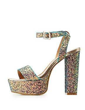 Bamboo Glitter Two-Piece Platform Sandals