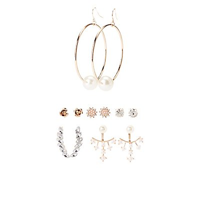 Faux Pearl & Crystal Earrings - 6 Pack