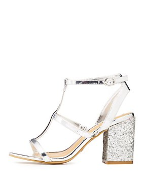 Bamboo Glitter-Trim Caged Sandals
