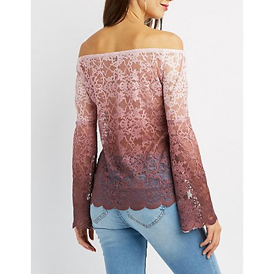 Ombre Lace Off-The-Shoulder Top