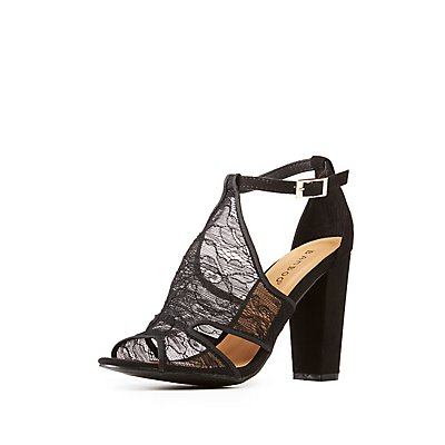 Faux Suede Lace-Detailed Peep Toe Sandals