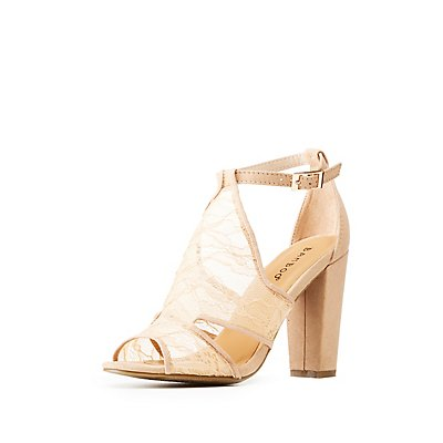 Bamboo Faux Suede Lace-Detailed Peep Toe Sandals