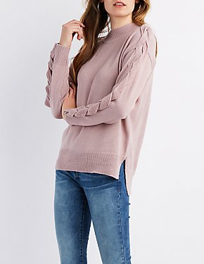 Braided Sleeve Mock Neck Sweater