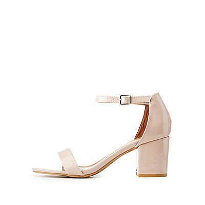 Bamboo Patent Ankle Strap Dress Sandals