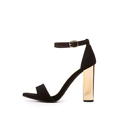Bamboo Ankle Strap Metal Heel Sandals