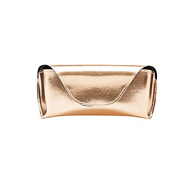 Metallic Faux Leather Flap Sunglasses Case