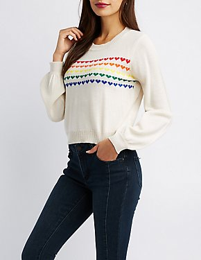 Heart Pattern Pullover Sweater