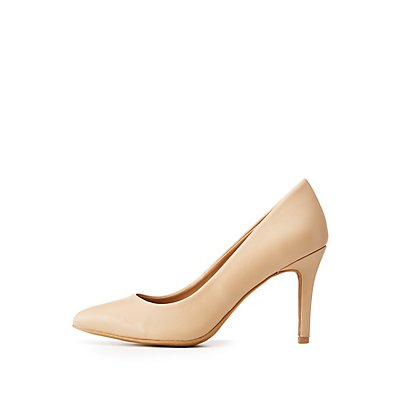 Bamboo Faux Leather Pointed Toe Pumps