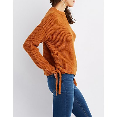 Lace-Up Sides Crew Neck Sweater