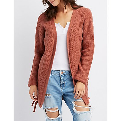 Lace-Up Detail Open-Front Duster Cardigan