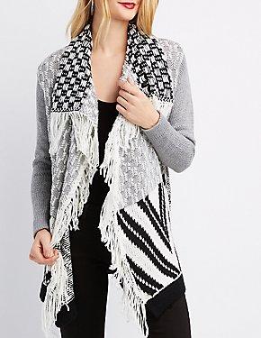 Mixed Knit Cascade Cardigan