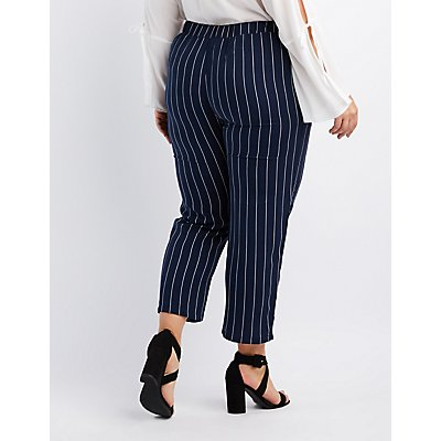 Plus Size Striped Tie-Front Palazzo Pants